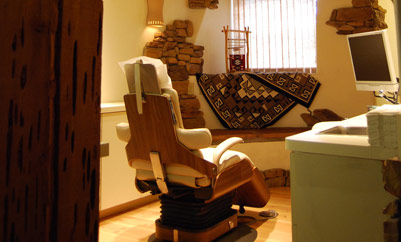 room with dentist chair and equipment