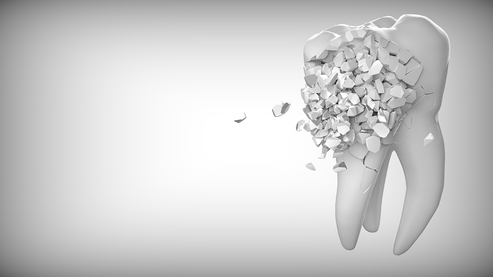 Treating Bruxism in Prescott - creative visualization of a portion of a tooth breaking into several pieces